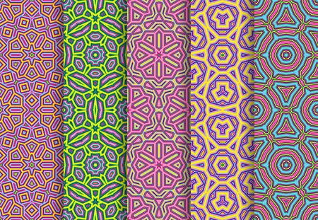 Festive colorful seamless patterns package. Ilustração