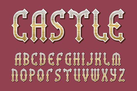 Castle golden alphabet. Gaming medieval stylized font. Isolated english alphabet.