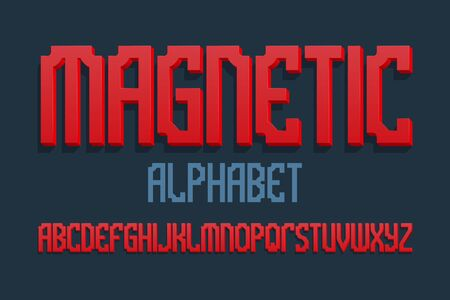 Magnetic alphabet. Red gradient 3d letters font. Isolated english alphabet. Ilustração