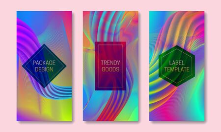 Vector vibrant colored packaging design. Set of colorful labels templates for trendy goods. Iridescent backgrounds with frames for text.