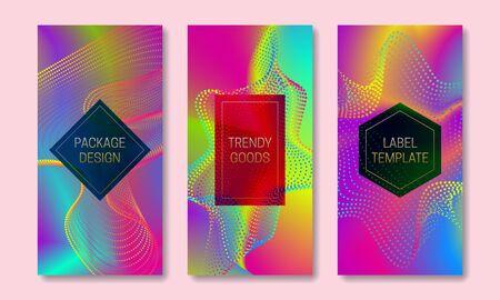 Design vibrante dell'imballaggio con dispersione multicolore. Set di modelli di etichette colorate. Sfondi futuristici con cornici per il testo.