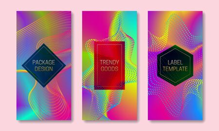 Vibrant packaging design with multicolor dispersion. Set of colorful labels templates. Futuristic backgrounds with frames for text.