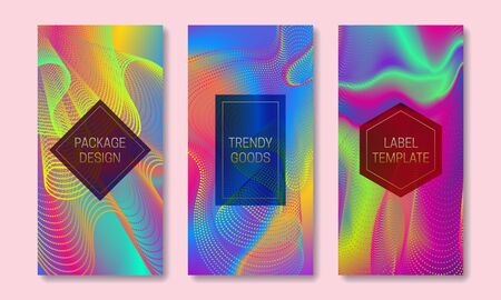 Vibrant packaging design with colorful stream of lines and dots. Set of trendy labels templates. Iridescent backgrounds with frames for text.