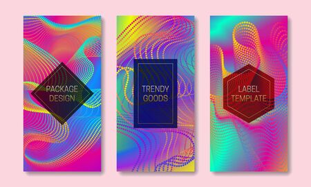 Vibrant packaging design with multicolor dots and lines array. Set of trendy labels templates. Iridescent backgrounds with frames for text.