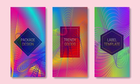 Vibrant packaging design with colorful dots and lines dispersion. Set of trendy labels templates. Iridescent backgrounds with frames for text. 向量圖像