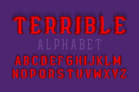 Terrible alphabet. Halloween stylized 3d font. Isolated english alphabet. Ilustração