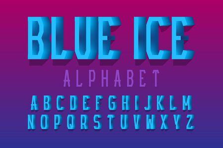 Blue ice alphabet. Urban 3d letters font. Isolated english alphabet.