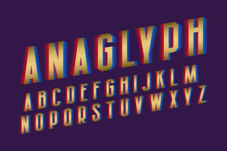 Anaglyph alphabet. Golden cyan red vibrant font. Isolated english alphabet. 向量圖像