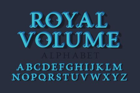 Royal volume isolated english alphabet. 3d vintage letters font.