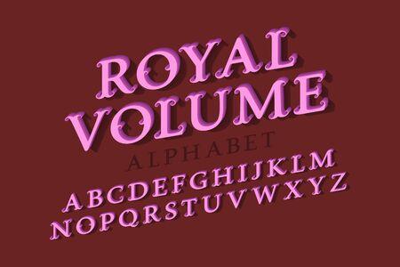 Royal volume isolated alphabet. 3d vintage letters font. Ilustração
