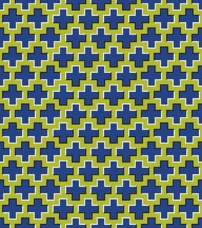 Optical illusion seamless pattern of moving crosses. Stock Illustratie