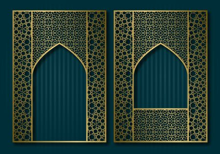 Vintage frames in form of oriental door and window. Brochure, book or greeting card golden cover backdrop design.  イラスト・ベクター素材