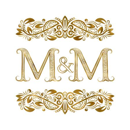 M and M vintage initials symbol. The letters are surrounded by ornamental elements. Wedding or business partners monogram in royal style.