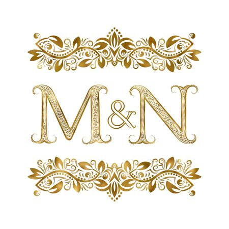 M and N vintage initials symbol. The letters are surrounded by ornamental elements. Wedding or business partners monogram in royal style.
