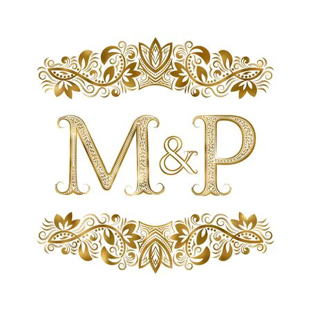M and P vintage initials symbol. The letters are surrounded by ornamental elements. Wedding or business partners monogram in royal style.
