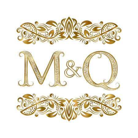 M and Q vintage initials symbol. The letters are surrounded by ornamental elements. Wedding or business partners monogram in royal style.