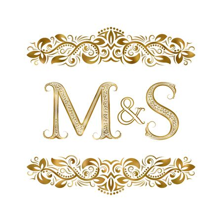 M and S vintage initials symbol. The letters are surrounded by ornamental elements. Wedding or business partners monogram in royal style. Stock Vector - 128890498