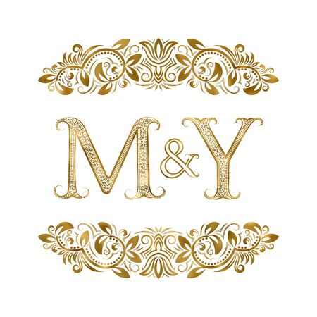M and Y vintage initials symbol. The letters are surrounded by ornamental elements. Wedding or business partners monogram in royal style. Stock Vector - 128890508