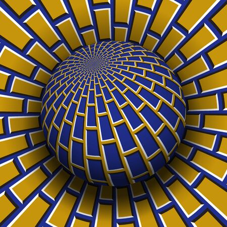 Optical illusion vector illustration. Blue yellow brickwork patterned sphere soaring above the same surface.