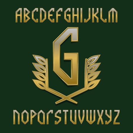 Golden monogram template in warlike laurel wreath with gaming stylized alphabet.