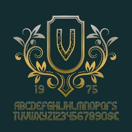 Luxury patterned monogram template in splendid floral wreath with vintage alphabet with numbers. Ilustração