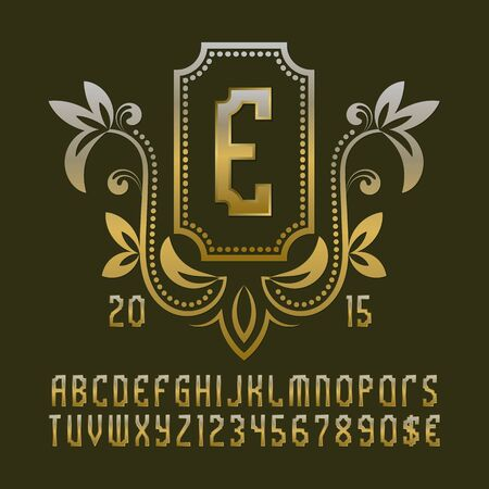 Golden patterned monogram template in beautiful wreath frame with vintage alphabet with numbers. Stock Vector - 130781343