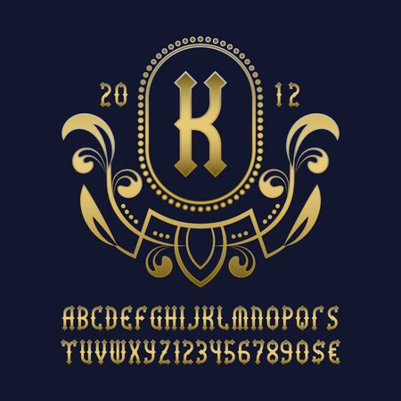 Golden monogram template in beautiful wreath frame with vintage alphabet with numbers.