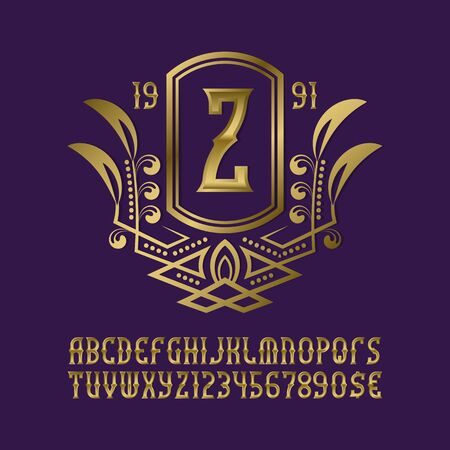 Golden monogram template in splendid wreath frame with artistic alphabet with numbers.