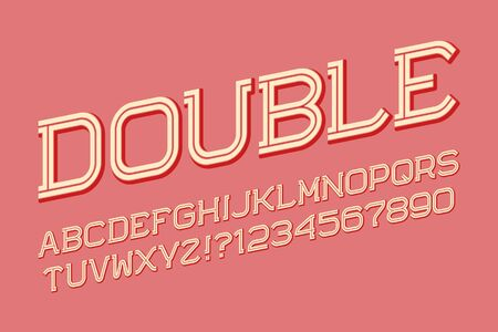 Double line letters and numbers in urban style. Isolated english alphabet. Ilustração
