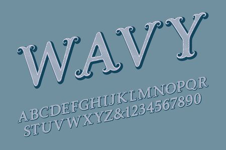 Wavy letters and with numbers in vintage style. Isolated english alphabet. Ilustração
