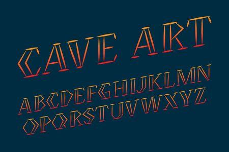 Cave art alphabet. Stylish handwritten font. Isolated english alphabet. Ilustração