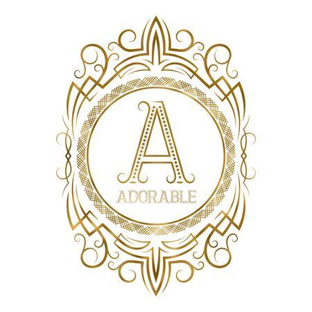 Golden label for adorable boutique. Vector monogram in vintage patterned frame. Stock Illustratie