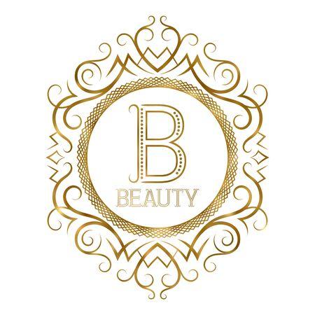 Golden label for beauty boutique. Vector monogram in vintage patterned frame.