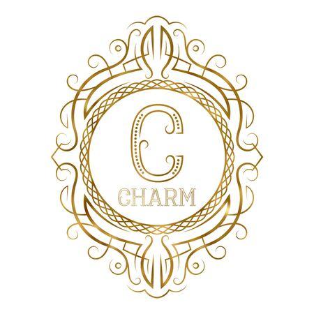 Golden label for charm boutique. Vector monogram in vintage patterned frame.