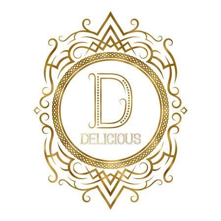Golden label for delicious boutique. Vector monogram in vintage patterned frame.