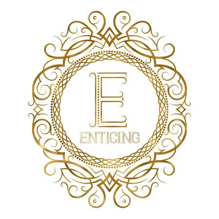 Golden label for enticing boutique. Vector monogram in vintage patterned frame.