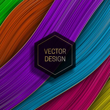 Wavy colorful layer background with hexagonal black and gold frame. Trendy packaging design or cover template.