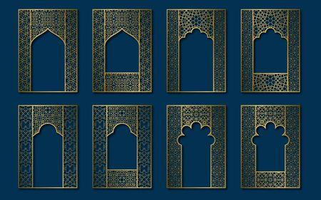 Set of golden vintage frames in form of ornate door and window. Book, booklet, brochure covers, greeting card or leaflet backgrounds templates.