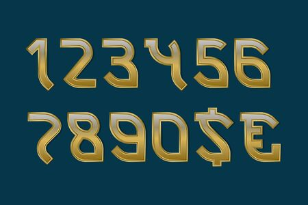 Gaming stylized golden numbers with currency signs of dollar and euro.