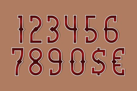 Bloody red stylized numbers with currency signs of dollar and euro.