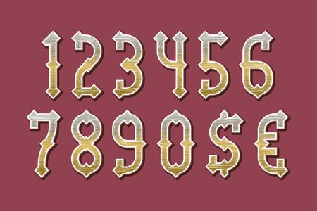 Castle golden stylized numbers with currency signs of dollar and euro. Stock Vector - 130781376