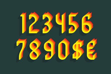 Yellow red stylized numbers with currency signs of dollar and euro.