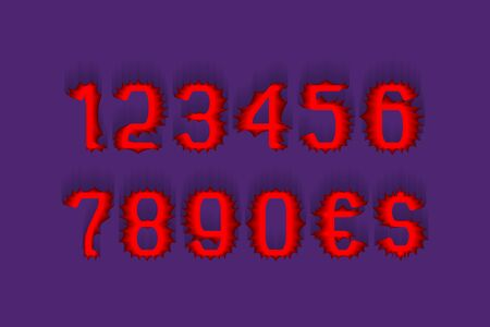 Terrible red stylized numbers with currency signs of dollar and euro. Stock Vector - 130781386
