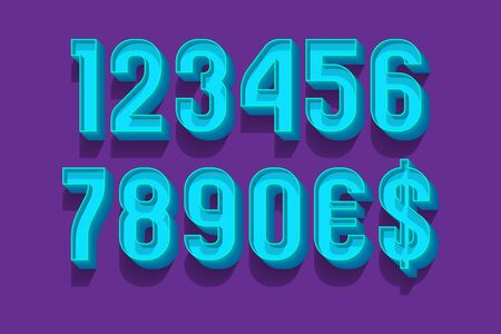 Classic volume numbers with currency signs in 3d retro style. Stock Vector - 130781393