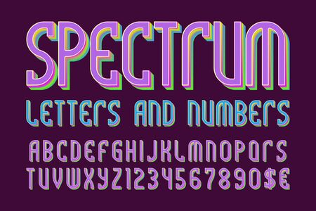 Spectrum colored letters and numbers with currency symbols. Iridescent vibrant font. Stock Illustratie