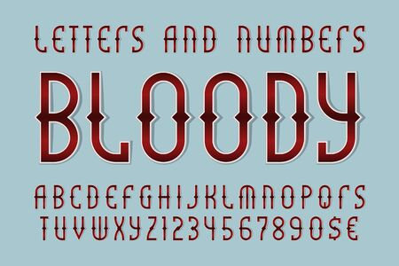 Bloody red letters and numbers with currency signs. Halloween gaming stylized font.