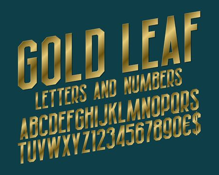 Gold leaf font of letters, numbers with currency signs of dollar and euro. Isolated typographic symbols.