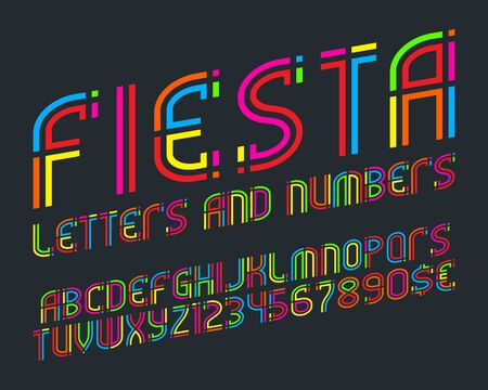 Fiesta alphabet with numbers and currency signs. Colorful letters font. Stock Vector - 131246059