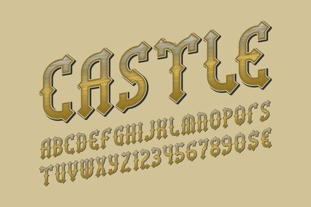 Castle golden alphabet with numbers and currency signs. Medieval stylized font.