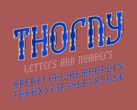 Thorny alphabet with numbers and currency signs. Urban stylized font. Isolated english alphabet.